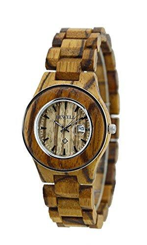 ideashop® Fashion Zebrano Anillo de acero, Watches Lovers reloj con fecha calendario de