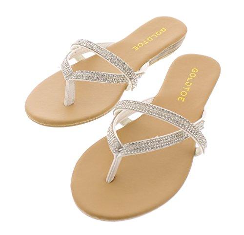 Gold Toe Women's camile Double Strap Multi Band Rhinestone Jewel Embellished Low Wedge Heel Thong Sandal White (Heel Thong)
