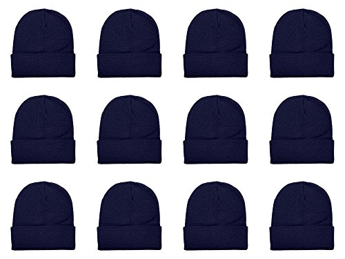 Gelante Unisex Beanie Cap Knitted Warm Solid Color Multi-Packs (12 Pack: Navy) ()