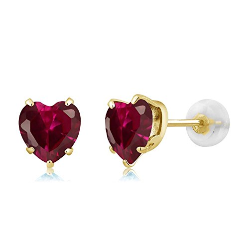 1.92 Ct Heart Shape 6mm Red Created Ruby 10K Yellow Gold Stud ()