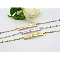 Custom Coordinates Bracelet in Gold Silver Rose Gold Personalized Name Initials Gifts, Location Bracelet, GPS Coordinates Bracelet