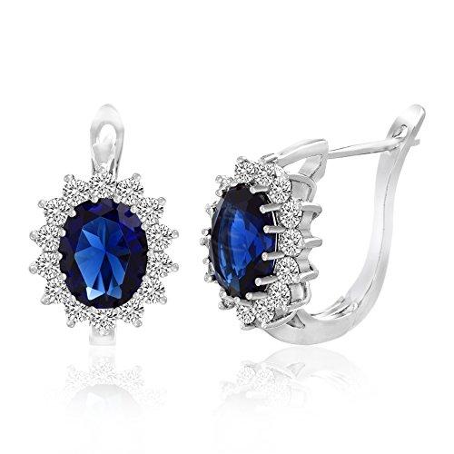 Avon Marcasite Ring (Cubic Zirconia Created Gemstone Leverback Earring (Created Sapphire))