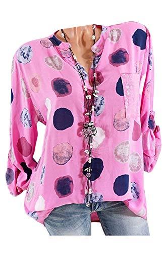 Dot Taille Lache Femmes Shirt 4XL La Polka Blouse Top T Plus Rose Tunique Tee wrwzqdE