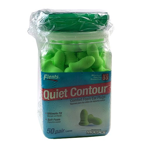 Flents Contour Ear Plugs - Soft Comfort! 50 Pair with Flents Green Ear Plug Case (Pack of 3)
