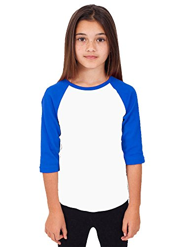 Hat and Beyond RD Kids 3/4 Raglan Sleeves T Shirt Child Youth Slim Fit T Shirts (X-Small (2-3 Year), White/Royal Blue)