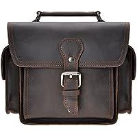 Leather Camera Bag ZLYC Vintage DSLR SLR Bag Removable Shockproof Padded Camera Case Small Messenger Shoulder Bag Satchel, Dark Brown