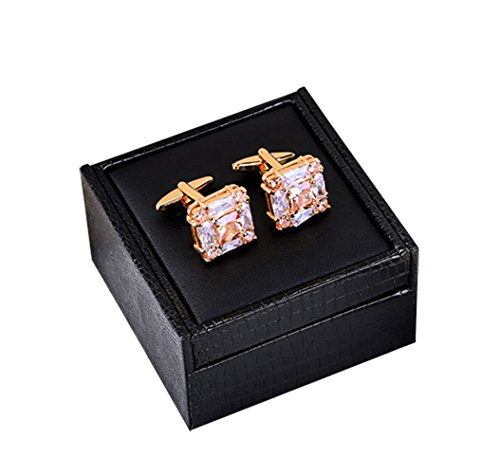 (Small Seven Mens Oval Wedding Cufflinks with,18K gold plated Men's cuffs Gift Box (Style : A))