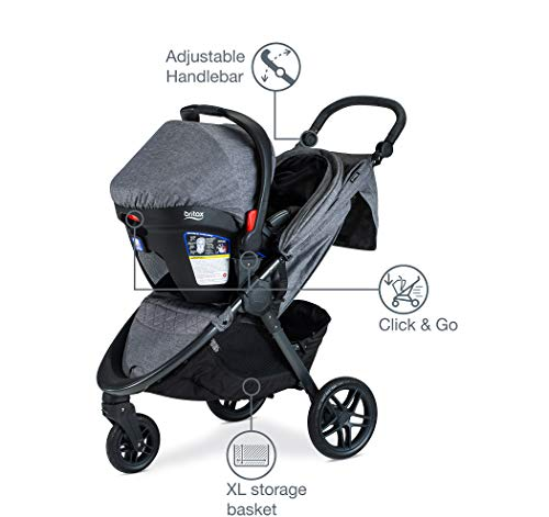 41Mk0AwEFdL - Britax B-Free Travel System With B-Safe Ultra Infant Car Seat - Birth To 65 Pounds | All Terrain Tires + Adjustable Handlebar + Extra Storage With Front Access + One Hand, Easy Fold, Vibe