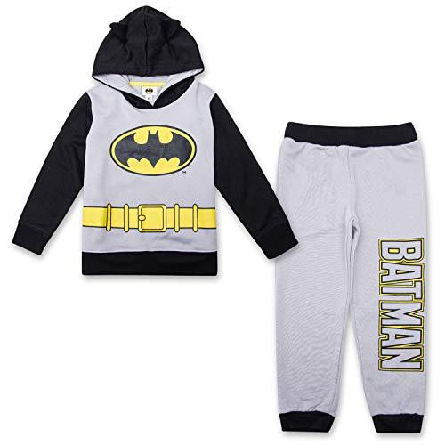 Black And Grey Batman Costume (Toddler Boys Batman Jogger Set - DC Comics Batman Hoodie & Sweatpants Set (Black/Grey,)
