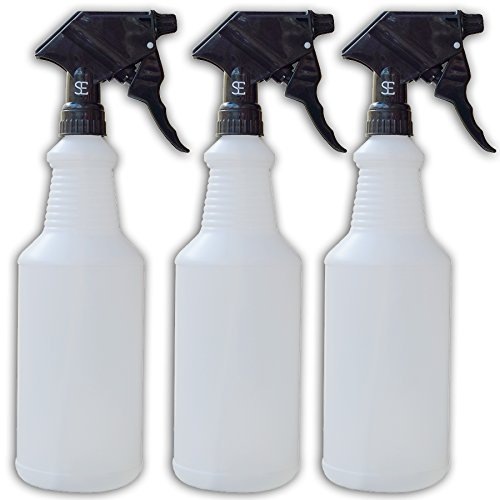 Extra Large, 32oz HIGH CAPACITY Clear Commercial Industrial Spray Bottles with Chemical Resistant Trigger Sprayer Multi-Pack of 3