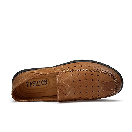 Suave Vamp de los Brown Casual Hombres Loafers Suela on de Penny Slip Mocasines Conducción Hollwo Barco Patch Goma S7UHnwAYq