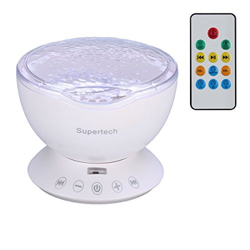 Supertech Multicolor Ocean Wave Projector Night Light Lamp With Built-in Music Player and Remote Control In Bedroom Living Room For Nursery Baby Kids Children Adults