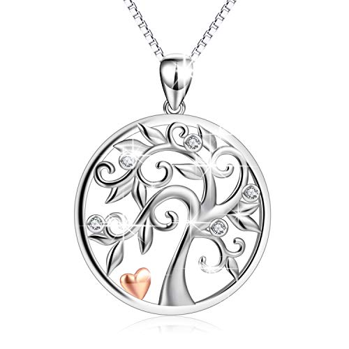 PEIMKO Sterling Silver Tree of Life Necklace, Family Tree Necklace Spiritual Gifts for Women Girls with Rose Gold Plated Love Heart, 18