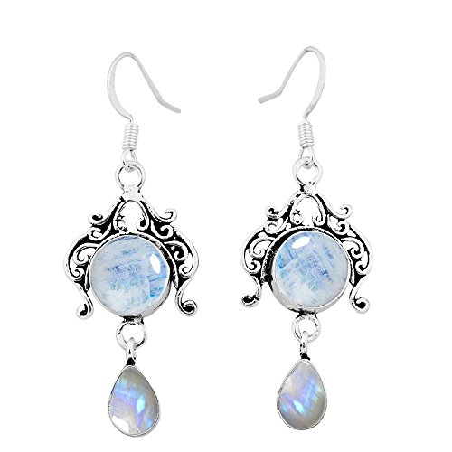 Genuine Rainbow Moonstone 925 Sterling Silver Overlay Handmade Fashion Earrings Jewelry