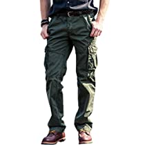 FLY HAWK Mens Chino Cargo Casual Pants Cotton Combat Trousers Multi Pockets Workwear