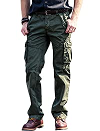FLY HAWK Men's Chino Cargo Casual Pants Cotton Combat Trousers Multi Pockets Workwear