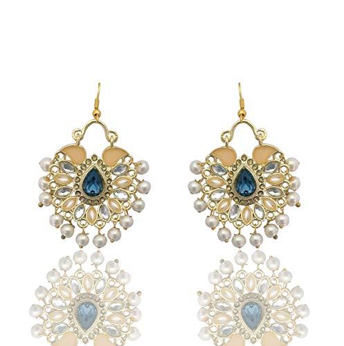Moonstruck Traditional Indian Chandbali Kundan Hoop Earrings With Pearls for Women (Blue) -
