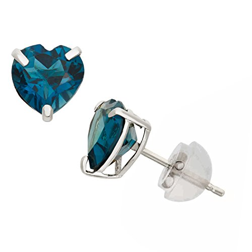 6mm Heart Blue Topaz Earring - London Blue Topaz Heart Shape Stud Earrings in 10K White Gold, 6mm, Comfort Fit