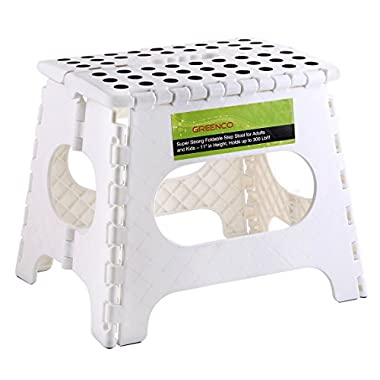 Greenco Super Strong Foldable Step Stool for Adults and Kids, 11 , White