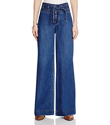 Flare Dark Wash (Free People Womens Augusta High-Rise Dark Wash Flare Jeans Blue 25)