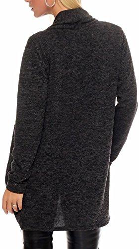 Size Sweater Long Oversize One Grey Wrap Loose Jacket Capote Irregular Waterfall Basic Bolero 5021 Rebeca Cardigan Casual Hood Malito Donna Dark UCxwdOnqO