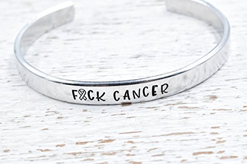 Fuck Cancer Bracelet Ribbon Hand Stamped Cuff