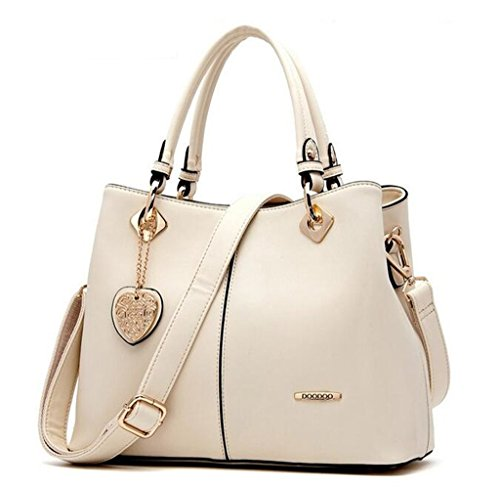 (Bagtopia Women's Fashion Leather Top-handle Handbags OL Casual Tote Crossbody Shoulder Bag Satchel Purse(Beige))