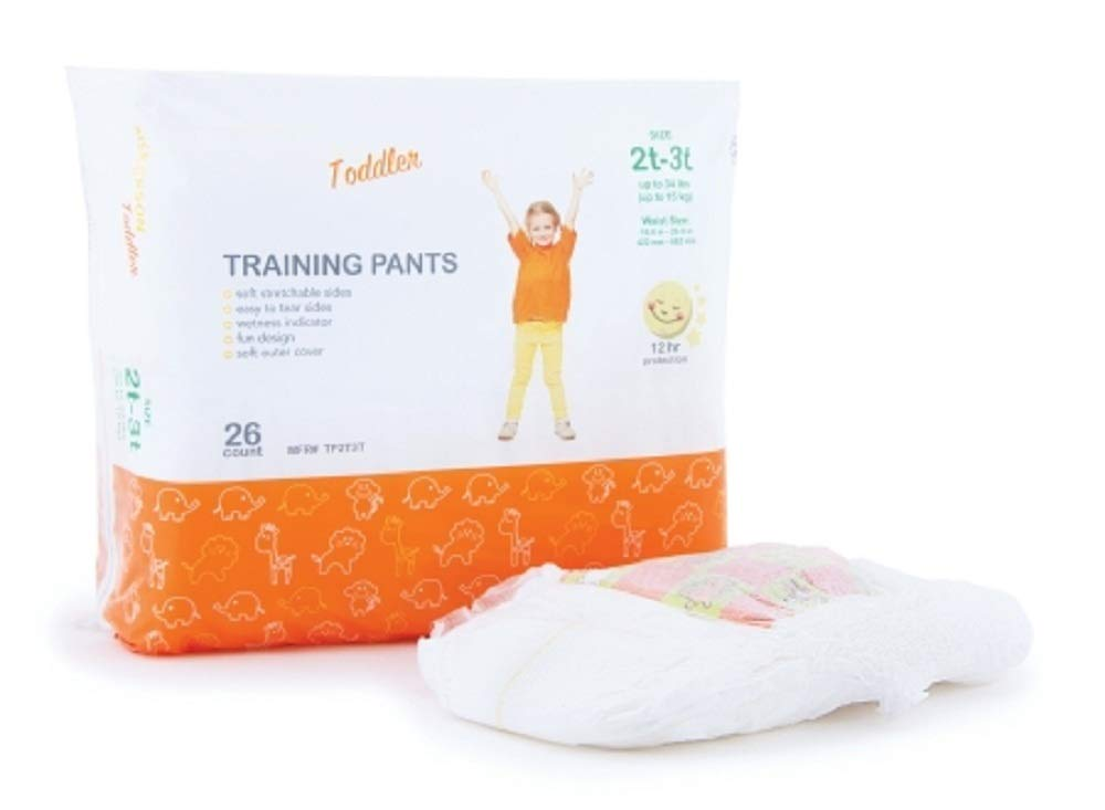 AMZ 104 Pack Toddler Training Pants 2T-3T. Unisex Disposable Absorbent Pants. Tear Away Seams, Elastic Gathers, wetness Indicator. Fun Graphics Print. Heavy Absorbency. Up to 34 lbs, 16.6-26.9'' Waist