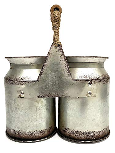 Vintage Farmhouse Decor Milk Can Utensil Holder - Silverware Caddy by CWT Home