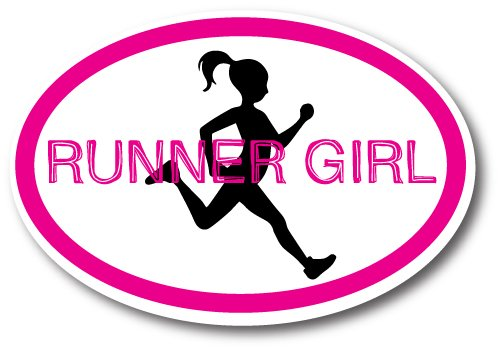 Runner Girl Pink Oval Car Magnet Decal Heavy Duty ()