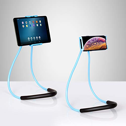 Lazy Cell Phone Holder Stand 360 Rotating Hanging on Neck Cell Phone Mobile Mount Holder Lazy Bracket DIY Free (Blue)