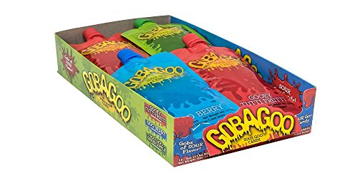 New Gobagoo Goo Candy 12-ct Assorted Flavor Box; Slime Like Sour Goo Candy Delivers Intense Taste Experience! Allergen, Gluten, GMO & - Candy Dairy Free