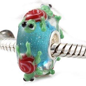 """Andante-Stones perle Murano Bead Argent 925 Sterling original et massif MONDE DES ANIMAUX """"petite tortue"""" + Étui en organza"""