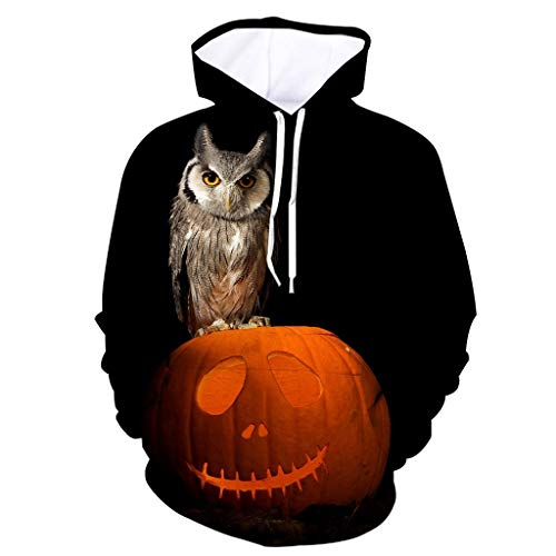 Holzkary Men's Horror Halloween Costume Funny Printed Party Hooded Pullover Tops Long Sleeve Sweatshirts Hoodies with Pockets(XXXXL.Black-1)