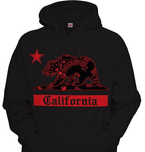 California Red Bandana Bear Hoodie Hooded Sweatshirt Cali Paisley Nor Cal Bay LA