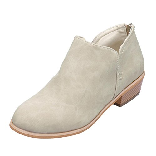 Autumn Flat Boots Ankle HLHN Leather Martin Shoes Zip Vintage Women Boots Ladies Beige Heel Block 5AYvAOqr