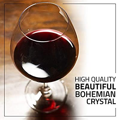 Bohemian Crystal Large Wine Glasses - Set of 2 Red Wine Glasses, 22 Ounce Glass for Cabernet and Bordeaux