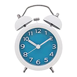 3'' Mini Loud Alarm Clock for Heavy Sleepers Mild Loss Hearing, Vintage Retro Style Analog Desk Clock with Battery Operated for Bedroom (Blue) AC028G