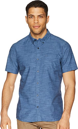 One Button Oxford Dress Shirt - Hurley Men's One & Only Textured Short Sleeve Button Up, Obsidian, M