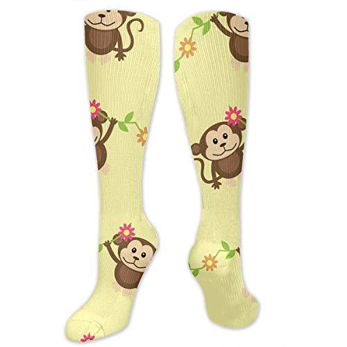 Compression Socks Monkey Baby Pattern Soccer Sports Knee High Tube Socks For Women And Men -
