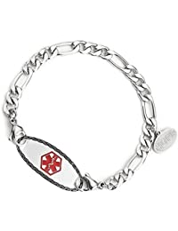 Free Engraving - 316L Stainless Steel Figaro Chain Medical Alert ID Bracelet for Women and Girls
