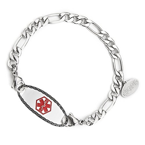Custom Engraved 316L Stainless Steel Figaro Chain Medical Alert ID Bracelet for Women and Girls,6.0in ()
