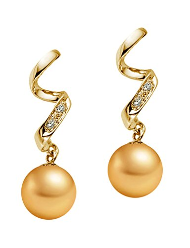 8-9mm Golden South Sea Cultured Pearl Diamond Dangle Earrings AAAA Quality 14k Yellow Gold ()