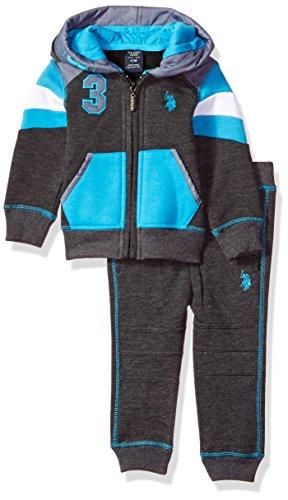U.S. Polo Assn. Baby Boys' 2 Piece Fleece Jog Set, 0711-Turquoise, -