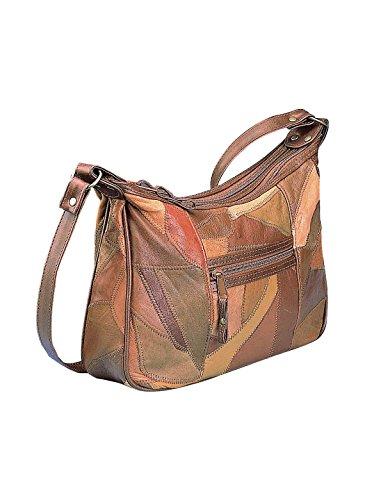 Patchwork Shoulder Bag, Tan, Size 12