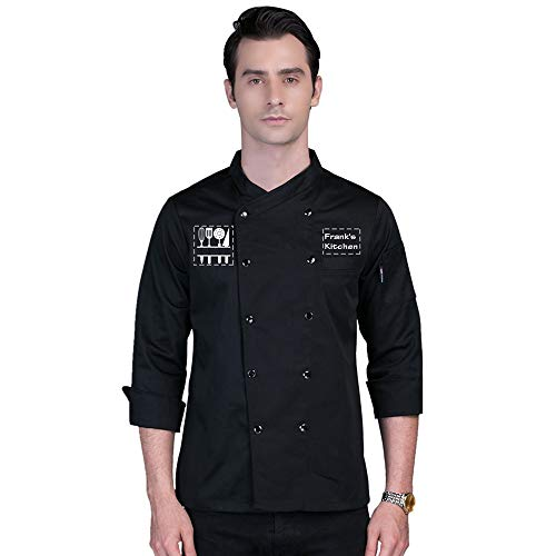 Add Your Own Custom Text Name Personalized Message or Image Printing on Chef Jacket Hotel Kitchen Restaurant Chef Coat (Black M)