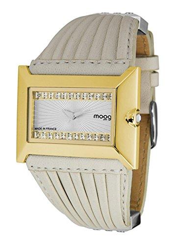 Moog Paris Temptation Women's Watch with Silver Dial, White Genuine Leather Strap & Swarovski Elements - M45332-108