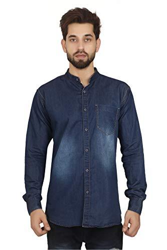 Private Image Meraki Mens Denim Chinise Collar Shirts