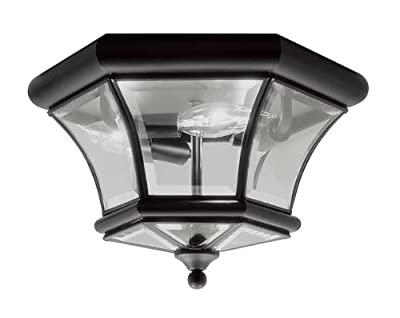 Livex Lighting 7053-04 Monterey Light Outdoor/Indoor Black Finish Solid Brass Flush Mount with Clear Beveled Glass