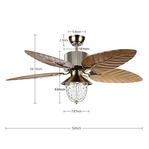 Tropicalfan Tropical Leaf Ceiling Fan With One Light Cover Indoor Home Dinner Room Living Room Quiet Windward Fans Chandelier 5 Plastic Reversible Blades 52 Inch Yellow by Tropical Fan (Image #1)